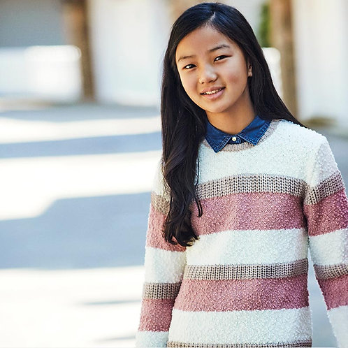 Mayoral Girls Striped knitting sweater in Natural