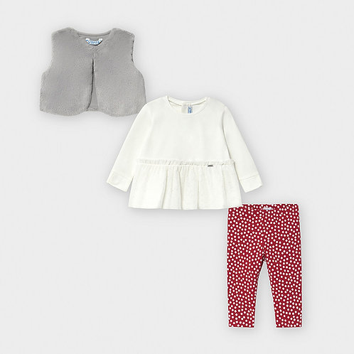 Mayoral Girls Leggings set with vest in Red