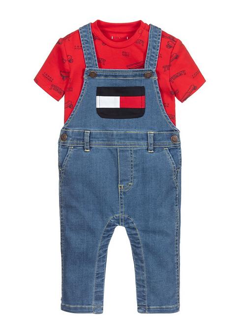 Tommy Hilfiger Red & Blue Baby Dungaree Set
