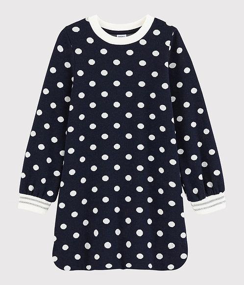 Petit Bateau Girl's Long-sleeved spot Dress