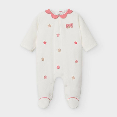 Mayoral Embroidered velour onesie for newborn girls