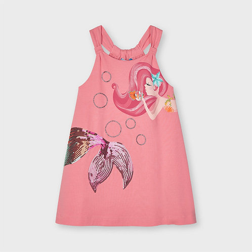 Mayoral dress with graphic apliques Flamingo