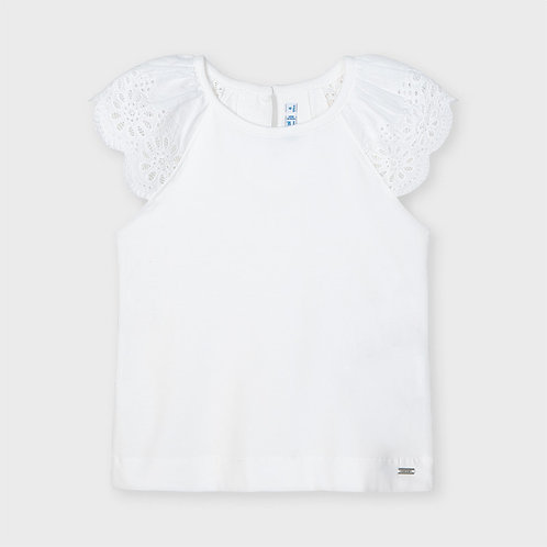 Mayoral Sleeveless t-shirt with lace for girl in white