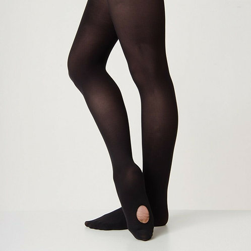 60 Denier Convertible Black Tights- Adults