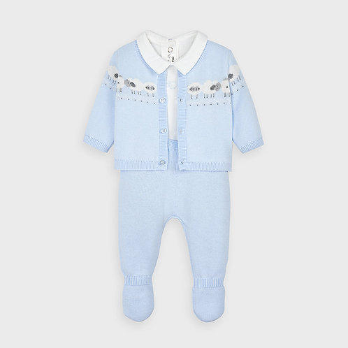 Mayoral 3 knit pcs set in Sky for newborn boy