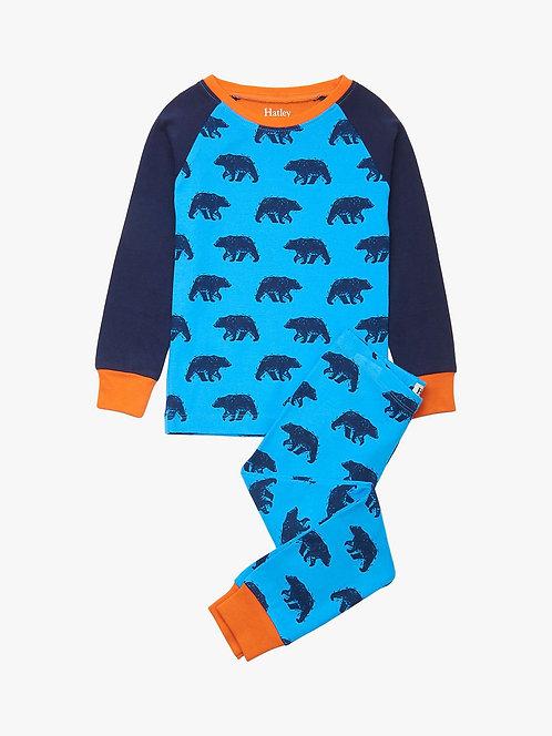Hatley Blue Bears Organic Cotton Raglan Pyjama Set