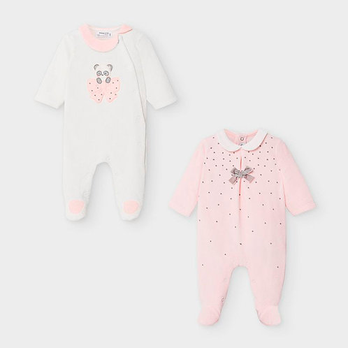 MayoralSet of two velour onesies for newborn girls