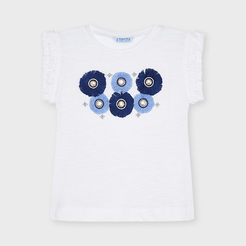 Mayoral Flower appliqué t-shirt for girl in White