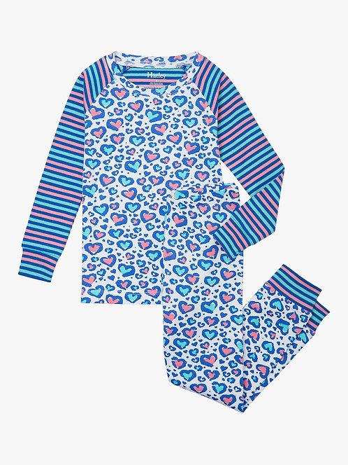 Hatley Cheetah Hearts Organic Cotton Raglan Pajama Set