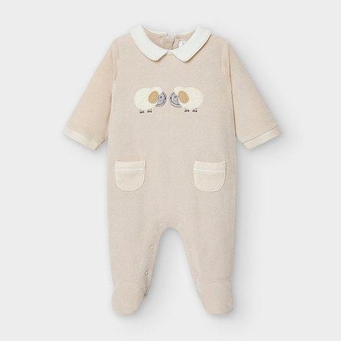 Mayoral Velour onesie for newborn in beige