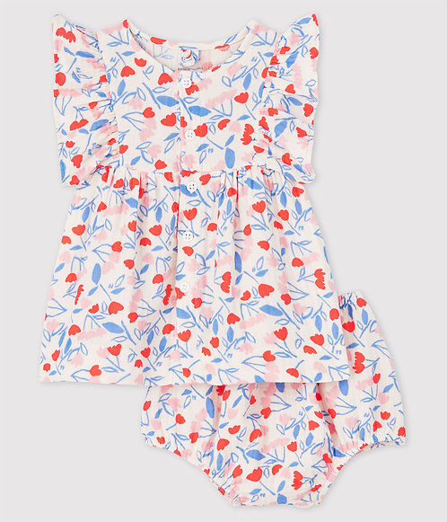 Petit Bateau-Baby Girls' Sleeveless Floral Organic Cotton Dress with Bloomers