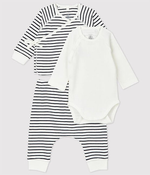 Petit Bateau-Babies' Stripy Organic Cotton Tube Knit Clothing - 3-Pack