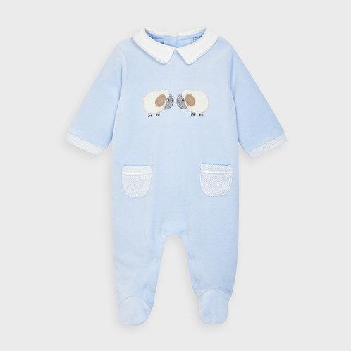 Mayoral Velour onesie for newborn boy