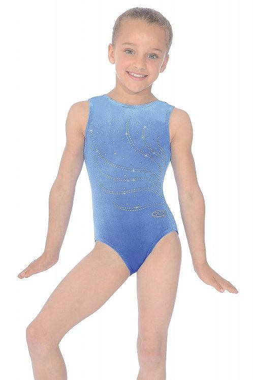 Tiara Crystal Motif Sleeveless Gymnastics Leotard-Royal Blue