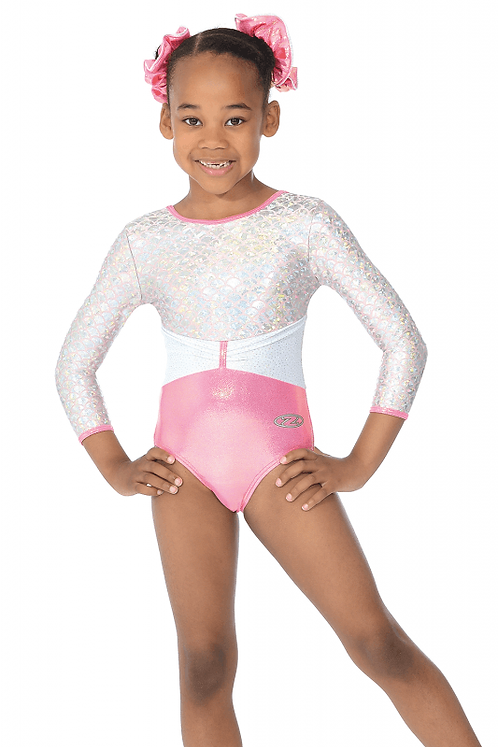Princess Girls Round Neck 3/4 Sleeve Shine Gymnastic Leotard