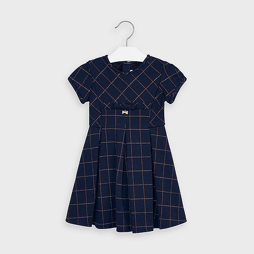 Mayoral Girls Plaid jacquard dress in Navy