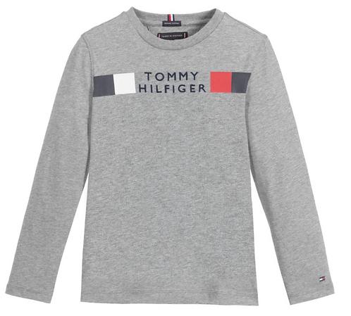 Tommy Hilfiger Global Stripe Long Sleeve Top: Grey