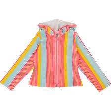 BILLIEBLUSH Stripe towelling zip up hoodie