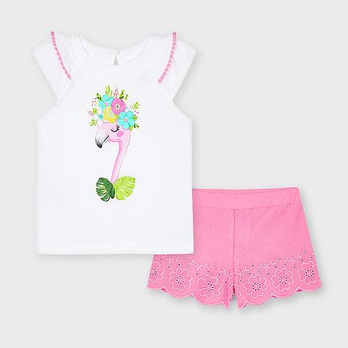 Mayoral Embroidered short set Camellia