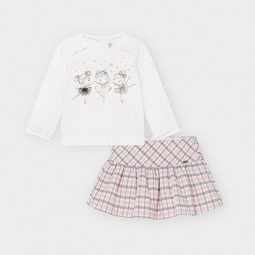 Mayoral Houndstooth print skirt set for baby girl