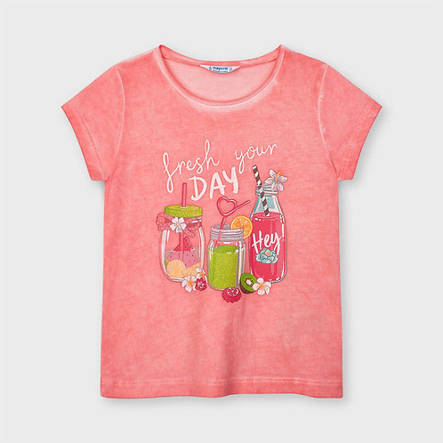 Mayoral Short sleeved t-shirt for girl in Flamingo