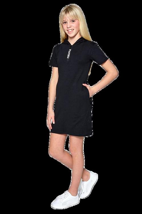 Pineapple Girls T-Shirt Hoody Dress in Black