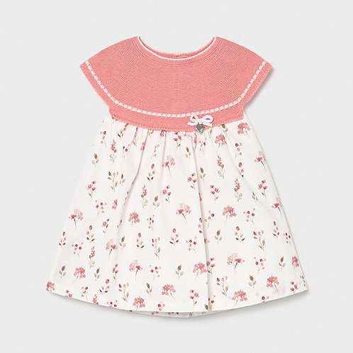 Mayoral Tricot combined dress for newborn girl