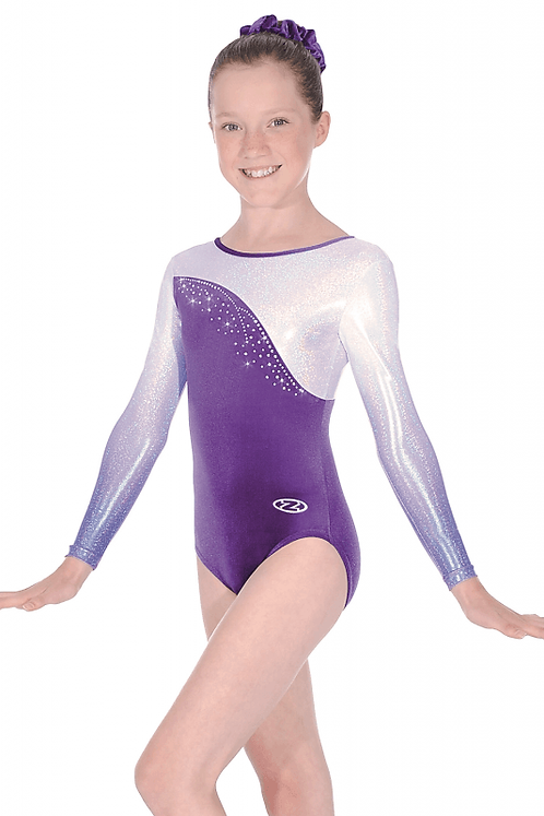 Idol Ombré Long Sleeve Leotard-Purple