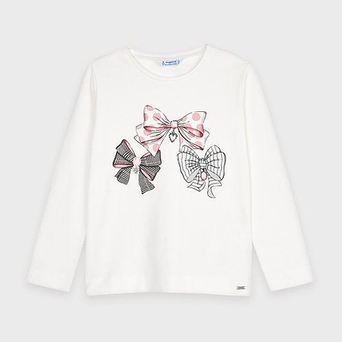 Mayoral Girls L/s graphic t-shirt in Naturl-col