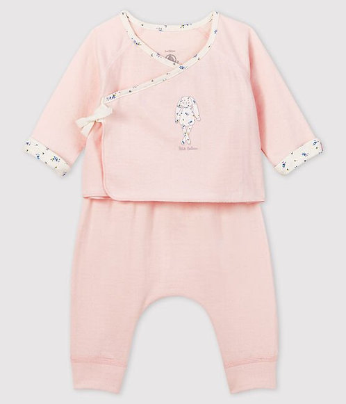 Petit Bateau Baby girl's pink tube-knit gift set