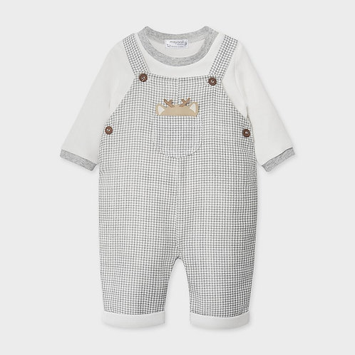 Mayoral Dungaree set for newborn boy in checks