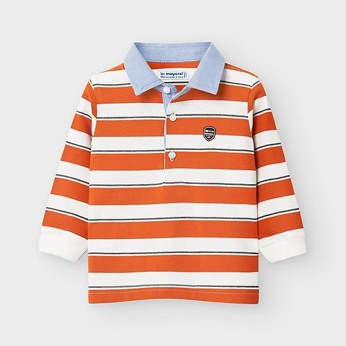 Mayoral Boys L/s stripes polo in Cheddar