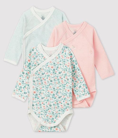 Petit Bateau Newborn Babies' Long-Sleeved Bodysuit - 3-Piece Set