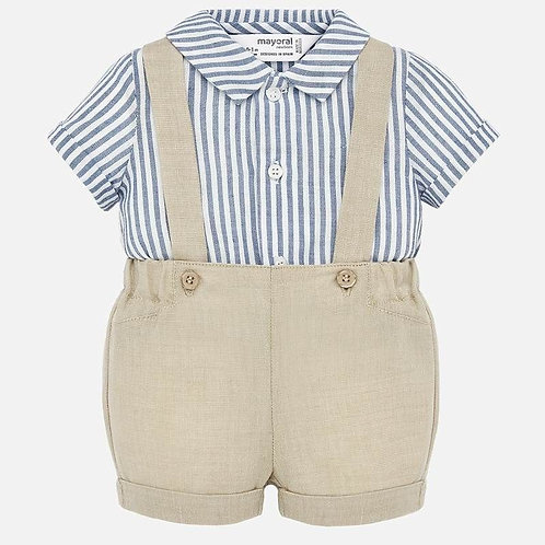 Mayoral Shirt and shorts with braces set for newborn boy