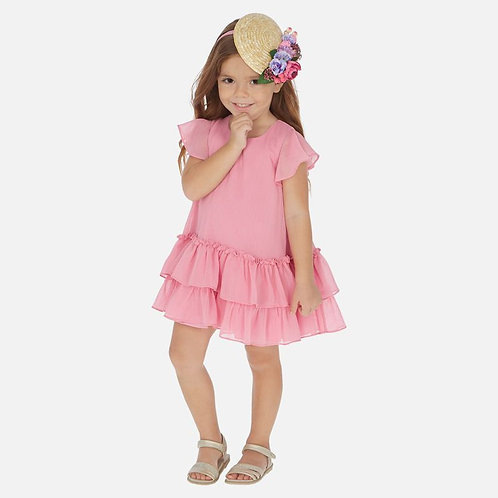 Mayoral Ruffle dress for girls in Hollyhock