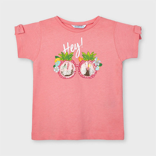 Mayoral ECOFRIENDS appliqué t-shirt for girl in Flamingo