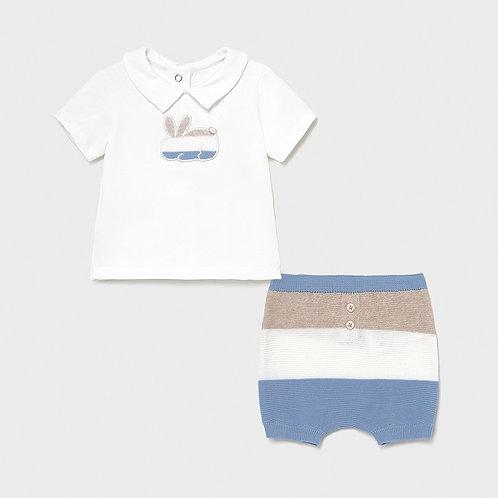 Mayoral ECOFRIENDS striped shorts set for newborn boy