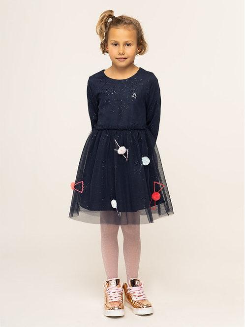 Billieblush - Navy pompom Glitter dress