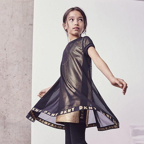 DKNY KIDS Girls Mesh Layered Dress - Black Gold