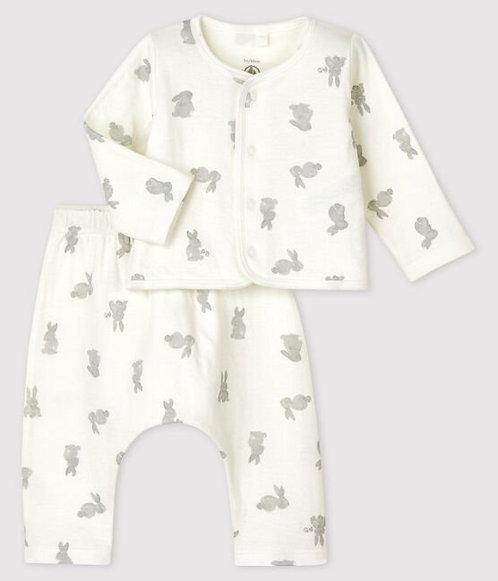 Petit Bateau-Babies' White Rabbit Patterned Organic Cotton - 2-Pack