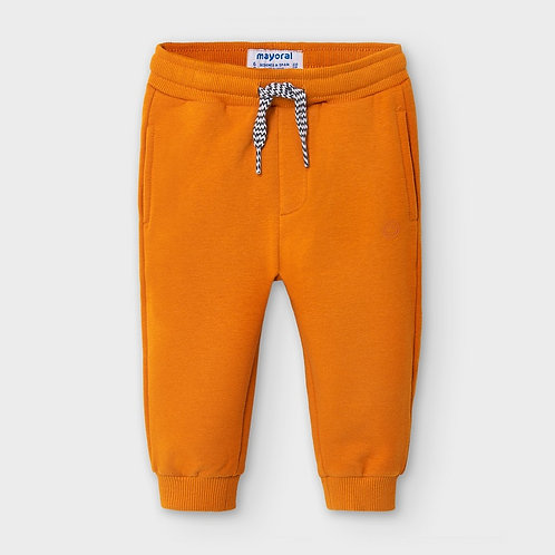 Mayoral Boys Basic cuffed fleece trousers in Cheddar