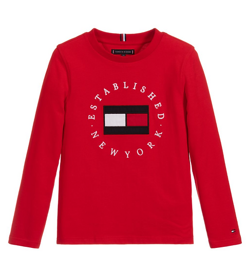 Tommy Hilfiger Organic Cotton Long Sleeve Top:Red