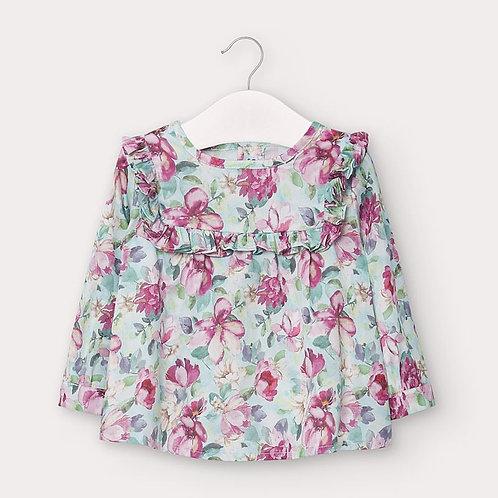 Mayoral Girls Satin poplin blouse in Jade