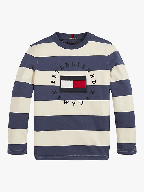 Tommy Hilfiger Boys' Stripe Logo Long Sleeve T-Shirt, Navy
