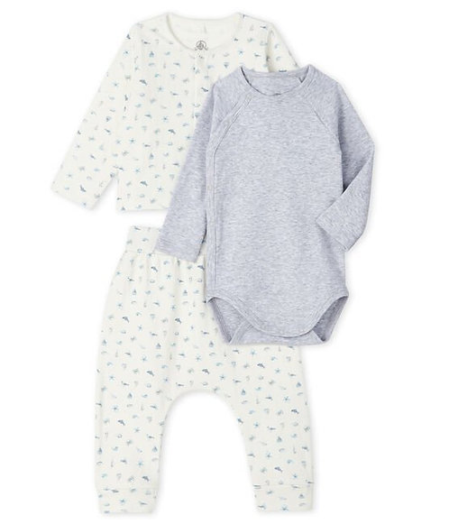Petit Bateau Unisex Baby's Tube Knit Clothing - 3-Piece Set