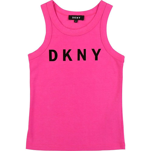 DKNY Round-Necked Logo Vest Top Pink