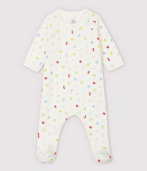 Petit Bateau-Babies' Colourful Puppies Organic Cotton Sleepsuit