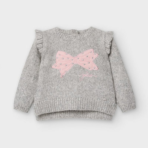 Mayoral Girls Knit sweater in Gray