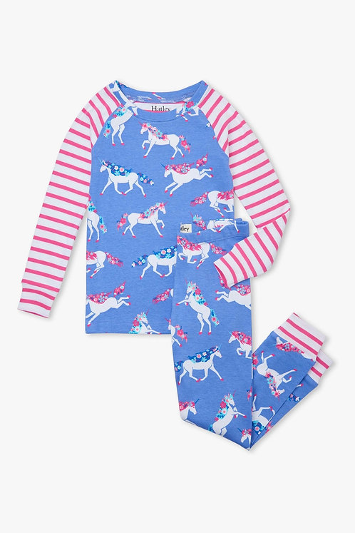Hatley Dreamy Unicorns Organic Cotton Raglan Pyjama Set