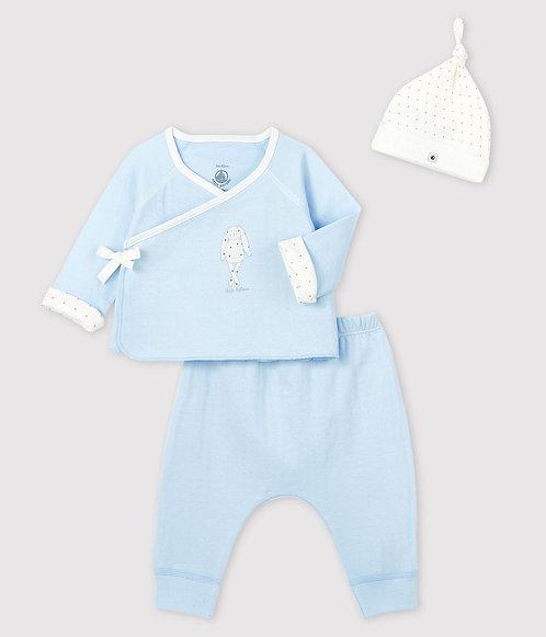 Petit Bateau Baby boy's blue tube-knit gift set